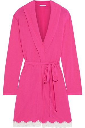 EBERJEY Women Bathrobes - Woman Lady Godiva Lace-trimmed Stretch-modal Jersey Robe Fuchsia Size L