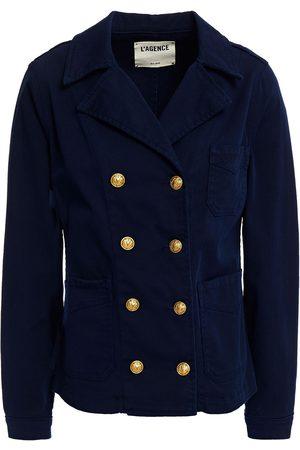 L'AGENCE Women Summer Jackets - Woman Allison Double-breasted Cotton-blend Gabardine Jacket Navy Size L