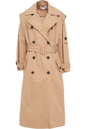 ZIMMERMANN Women Trench Coats - Woman Belted Pleated Cotton-blend Twill Trench Coat Sand Size 0