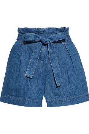 L'Agence Women Shorts - Woman Hillary Belted Pleated Denim Shorts Mid Denim Size 22