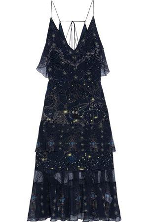 CAMILLA Woman Tiered Georgette-paneled Embellished Printed Silk Crepe De Chine Midi Slip Dress Midnight Size L