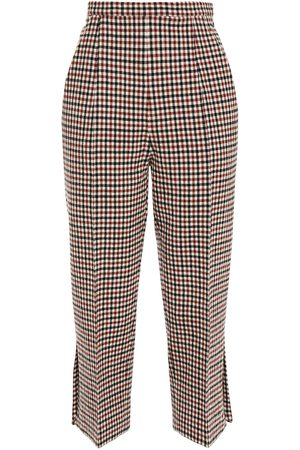 KHAITE Woman Bridget Cropped Gingham Wool-blend Straight-leg Pants Claret Size 0