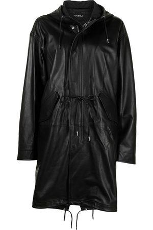 GOEN.J Hooded leather coat