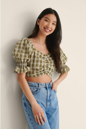 NA-KD Checked Cropped Top - Green