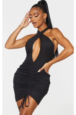 PRETTYLITTLETHING Shape Mesh Plunge Ruched Bodycon Dress