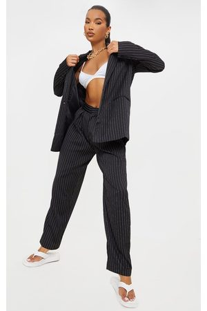 PRETTYLITTLETHING Pinstripe Woven High Waisted Cigarette Trouser