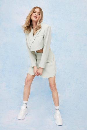 NASTY GAL Womens Shoulder Pad Cropped Tailored Blazer