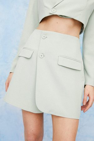NASTY GAL Womens Asymmetric Tailored Wrap Mini Skirt