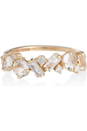 Suzanne Kalan Amalfi 14kt ring with diamonds and topaz