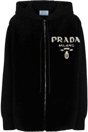 Prada Women Summer Jackets - Cashmere and shearling hoodie