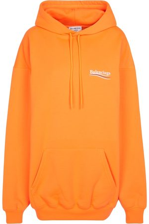 Balenciaga Women Hoodies - Logo cotton-blend hoodie