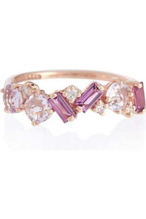 Suzanne Kalan Amalfi 14kt rose gold ring with diamonds, rhodolite and amethyst
