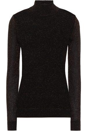 AUTUMN CASHMERE Women Turtlenecks - Woman Metallic Cashmere-blend Turtleneck Sweater Size L