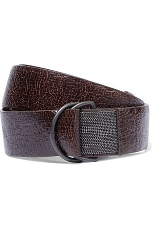 Brunello Cucinelli Women Belts - Woman Bead-embellished Cracked-leather Belt Chocolate Size L