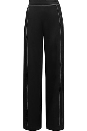 VALENTINO Women Wide Leg Trousers - Woman Pintucked Satin-crepe Wide-leg Pants Size 10