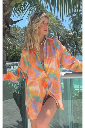 PRETTYLITTLETHING Peach Pastel Abstract Print Oversized Beach Shirt