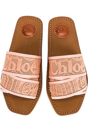 Chloé Woody Lace Slides in Tea