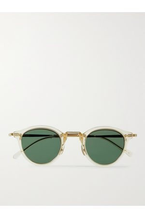 Mr. Leight Men Sunglasses - Stanley S Round-Frame Acetate and Gold-Tone Sunglasses