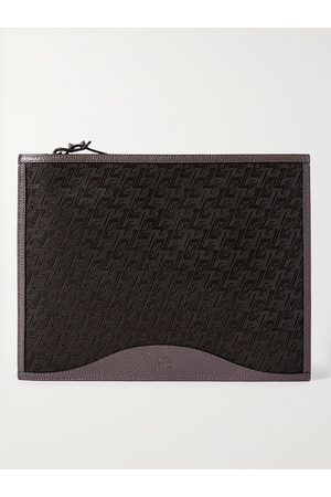 Christian Louboutin Men Purses & Wallets - Logo-Jacquard Coated-Canvas and Full-Grain Leather Pouch