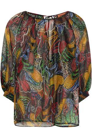 MISSONI Women Blouses - Woman Gathered Printed Silk-chiffon Blouse Size 38