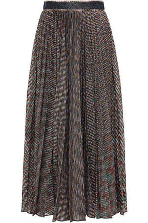 Missoni Women Midi Skirts - Woman Pleated Metallic Crochet-knit Midi Skirt Multicolor Size 40