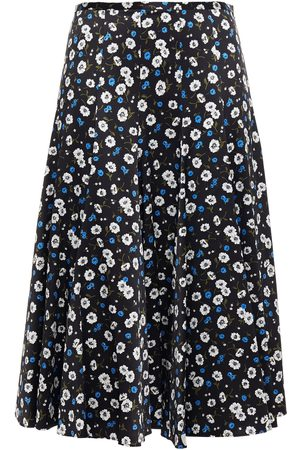 Michael Kors Woman Floral-print Silk-satin Skirt Size 2
