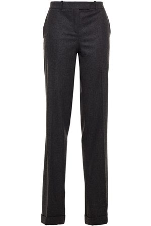 MICHAEL KORS COLLECTION Women Formal Trousers - Woman Mélange Wool-blend Straight-leg Pants Charcoal Size 0
