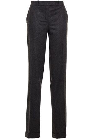 MICHAEL KORS COLLECTION Women Formal Trousers - Woman Mélange Wool-blend Straight-leg Pants Charcoal Size 0