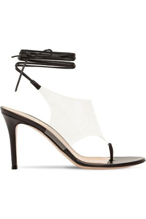 Gianvito Rossi 85mm Plexi & Leather Thong Sandals