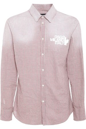 DSQUARED2 Logo Print Micro Check Cotton Shirt