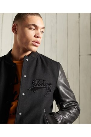 Superdry Blackout Leather Mix Bomber Jacket