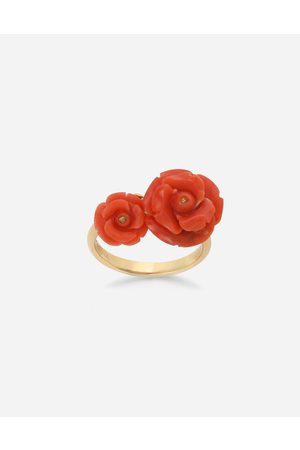 Dolce & Gabbana Women Necklaces - Jewelry - Coral ring in yellow 18kt with coral rose female OneSize