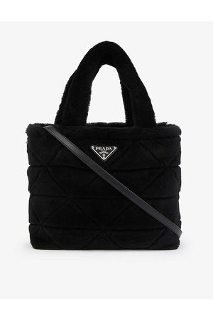 Prada Logo-plaque leather and shearling tote bag