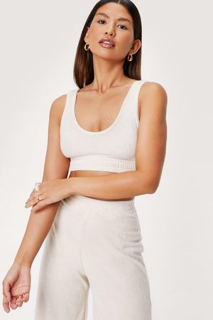 Nasty Gal Women Beach Dresses - Womens Towelling Scoop Neck Crop Beach Cover Up Top