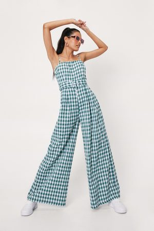 NASTY GAL Women Bootcut - Womens Gingham Print Square Neck Wide Leg Jumpsuit