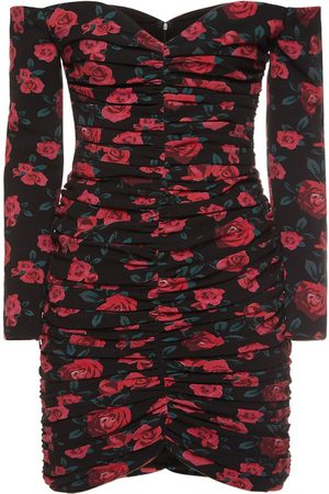 GIUSEPPE DI MORABITO Printed Wool Off-the-shoulder Mini Dress