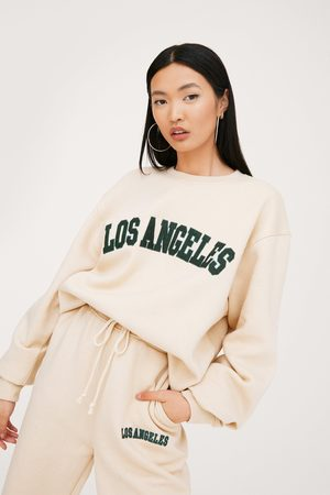 NASTY GAL Womens Los Angeles Oversized Embroidered Graphic Sweatshirt