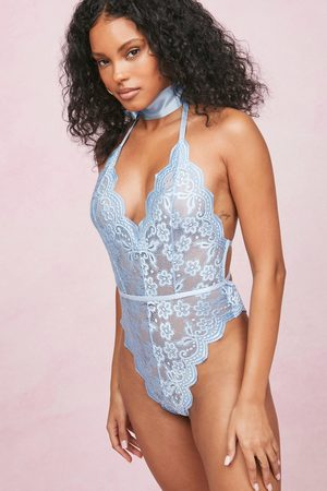 NASTY GAL Womens Lace Deep V Neck High Leg Bodysuit