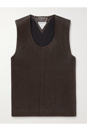Bottega Veneta Slim-Fit Woven Leather Tank Top