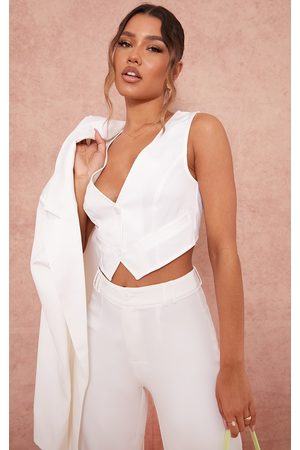 PRETTYLITTLETHING Woven Belted Back Detail Suit Waistcoat Top