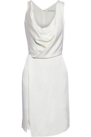 HALSTON Woman Cutout Draped Satin Mini Dress Off- Size 0