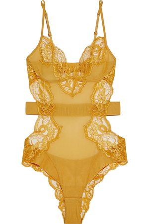 La Perla Woman Ambra Leavers Lace And Stretch-tulle Bodysuit Saffron Size I B