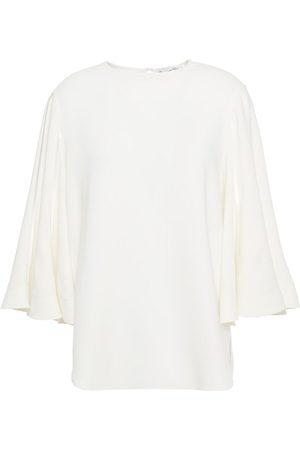 Oscar de la Renta Woman Satin-trimmed Silk-blend Crepe De Chine Blouse Ivory Size 10