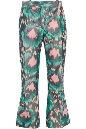 Marni Woman Printed Cotton-blend Sateen Kick-flare Pants Jade Size 36
