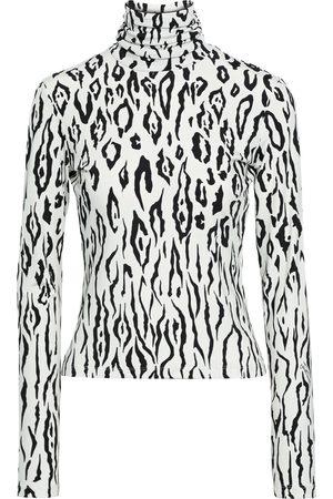 Roberto Cavalli Woman Leopard-print Stretch-jersey Turtleneck Top Animal Print Size 38