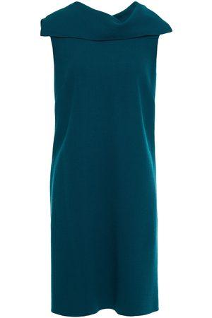 Oscar de la Renta Woman Draped Wool-blend Crepe Mini Dress Teal Size 10