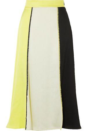 STINE GOYA Woman Jada Picot-trimmed Paneled Satin Midi Skirt Pastel Size L
