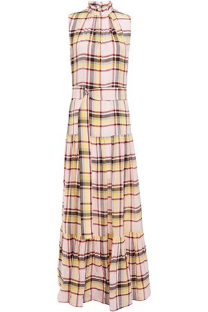 M Missoni Woman Belted Checked Crinkled-sateen Maxi Dress Baby Size 36