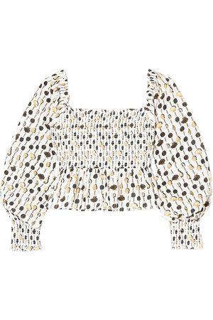 RIXO London Woman Eloise Cropped Shirred Printed Cotton-poplin Top Ivory Size L
