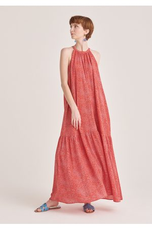 Paisie Graphic Print Halterneck Maxi Dress